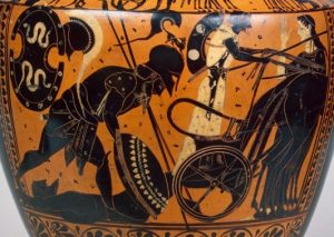 Achilles dragging Hector's body behind his chariot